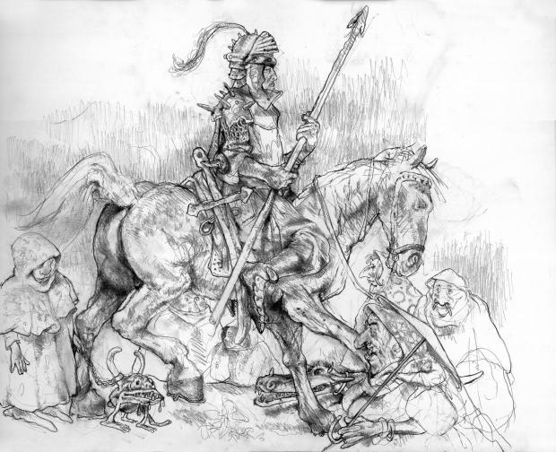 Илюстрация: Рицарят, от Калин Николов