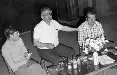 Юрий Илков, Аркадий Стругацки и Агоп Мелконян в Пазарджик