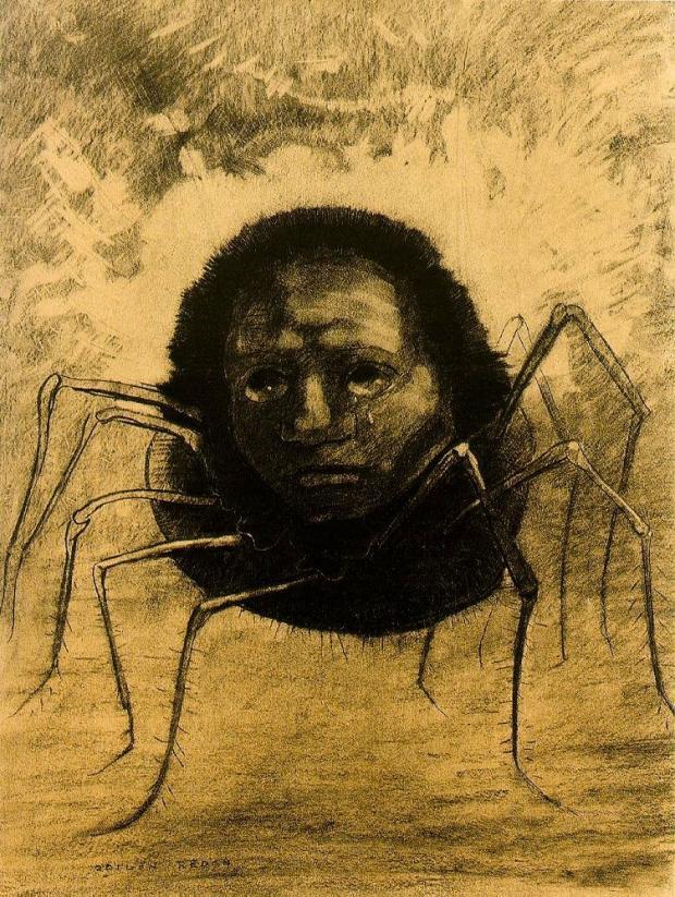 """Илюстрацията от Одилон Редон """"Плачещият паяк"""""""