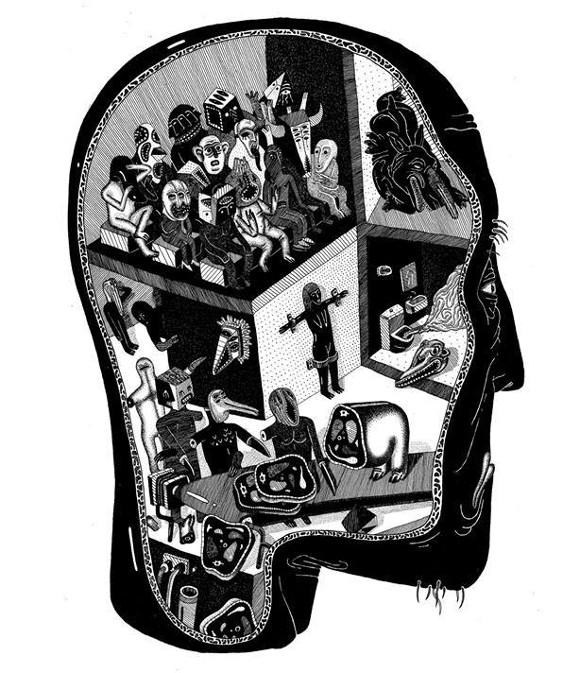 Илюстрация от Борис Праматаров към Гласовете на диаболизма