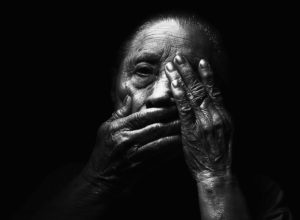 Dark Hands Aged Face Blur Adult Old Model Light