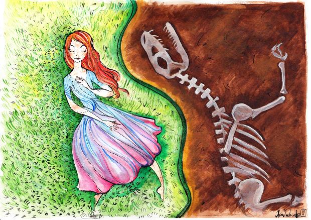 Илюстрация към Ако беше динозавър, любов моя, от Рейчъл Суърски, разказ