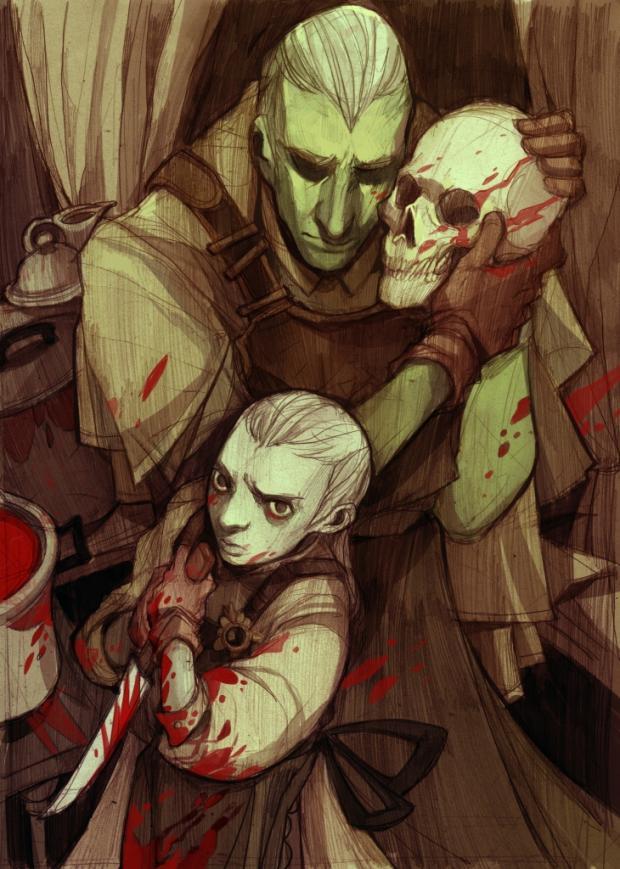 Илюстрация към Езикът на ножовете, от Хараламби Марков (илюстрация: Дияна Нанева)