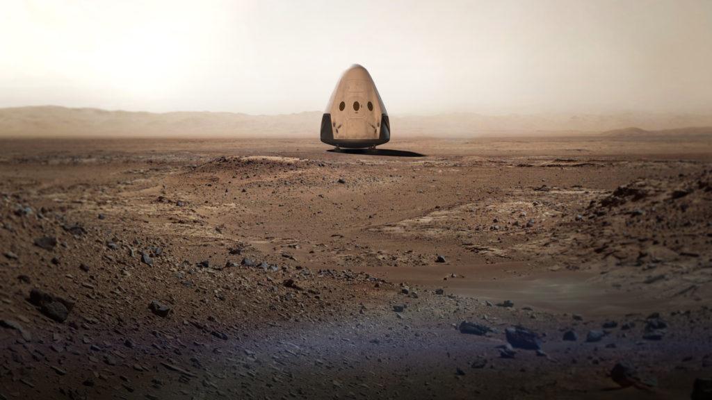 Космически кораб, кацнал на марсианска равнина