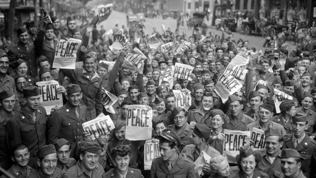 Allied military personnel in Paris celebrating V-J Day, End of World War II