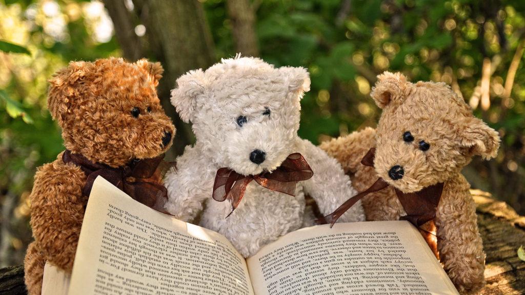 плюшени мечета четат книжка